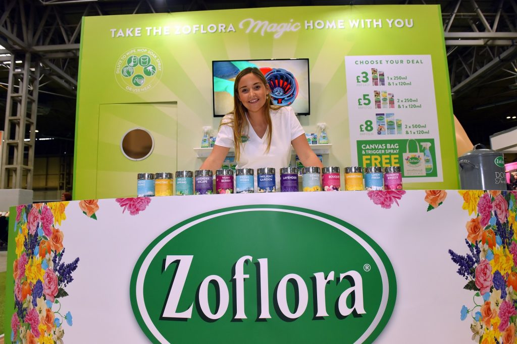 Jacqueline Jossa on the Zoflora stand at Crufts