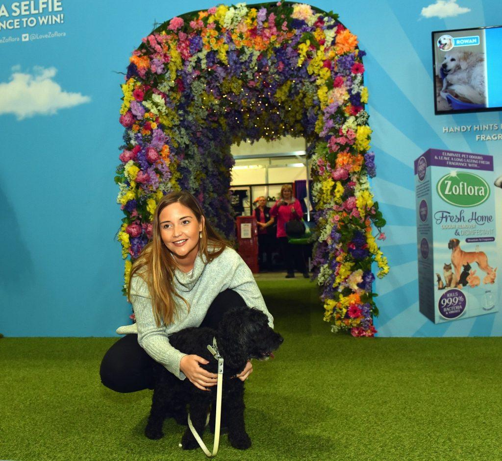 Jacqueline Jossa unveiling the Zoflora Fragrance Walk at Crufts